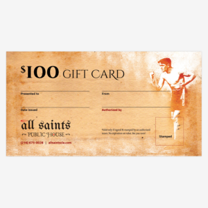 All Saints Public House Buy Gift Cards - 100 Dollars